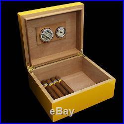 COHIBA Piano Finish Cedar Cigar Humidor Box Ashtray Cutter Set Hold 30 Count