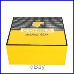 COHIBA Piano Finish Cedar Humidor Box with Ashtray, Cutter and Humidifier