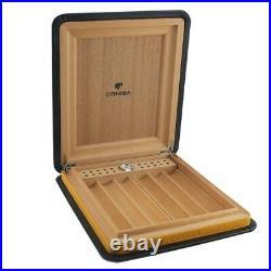 COHIBA Portable Leather Travel Cigar Case Cedar Wood Lined Cigar Humidor BOX HQ
