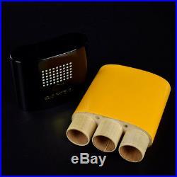 COHIBA Solid Wood Travel Cigar Case Humidor 3 Tube Gift Box