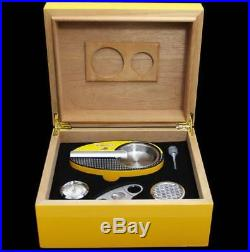COHIBA Yellow Cedar Cigar Humidor Box With Whole Cigar Set And Humidifier
