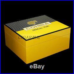 COHIBA Yellow Cedar Lined Cigar Humidor Ashtray Cutter Box Set Piano Finish