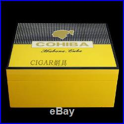 COHIBA Yellow Piano Finish Cedar Wood Cigar Humidor Box Ashtray Cutter Set