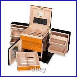 Capacity 200+ CT Count Cigar Humidor Humidifier Wooden Case Box Hygrometer Large