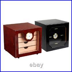 Capacity Wood 3 Drawer Cigar Humidor Cabinet Box Humidifier Hygrometer Black