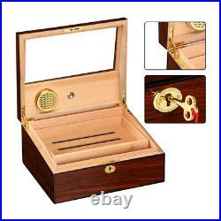 Cedar Wood Cigar Humidor Box Humidifier Hygrometer Fit 50 Holder Large Capacity