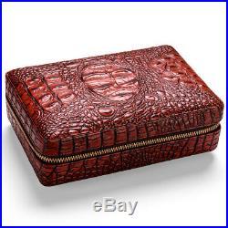 Cedar Wood Cigar Humidor Travel Portable Leather Cigar Case Box for 4 Cigars