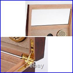 Cedar Wood Desktop Cigar Humidor High Glossy Cigar Moisturizing Box Glass Top