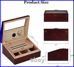 Cedar Wood Desktop Cigar Humidor High Glossy Moisturizing Box Glass Top PIPITA