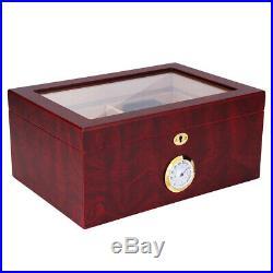 Cedar Wood Humidifier Humidor Storage Cigar Box Case Organiser Display, Window