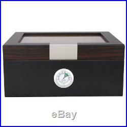 Cedar Wood Wooden Lined Cigar Humidor Humidifier + Hygrometer Case Box Black