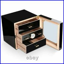 Cedar wood Cigar Humidor Desktop Cigar Box 3 Drawers withHygrometer&Humidifier