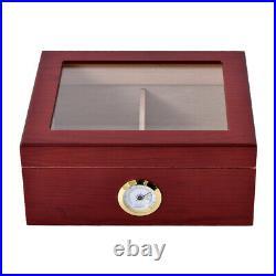 Cherry 50 Cigar Humidor Storage Box Desktop Glasstop with Humidifier Hygrometer