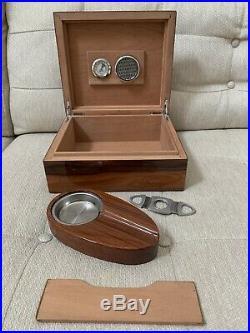Cherry Wood Cigar Humidor Box Hygrometer Humidifier Ashtray Cutter Sureseal LID