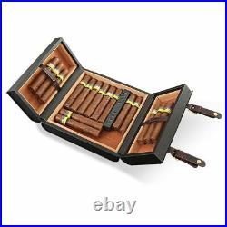 Cigar Box Humidor Leather Portable Case Travel Holder Cedar Wood 15 Cigars Hold
