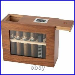 Cigar Box With Hygrometer Humidifier Portable Humidor Glass Wooden Cases 22x9x18cm