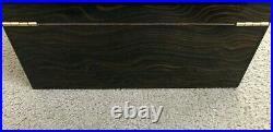 Cigar Humidor Box Beautiful Inlaid Wood Dark Walnut