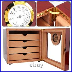 Cigar Humidor Box Built-In Hygrometer Luxurious Cigar Box With Humidifier Home