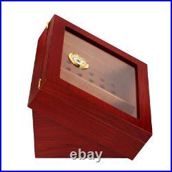 Cigar Humidor Box Cedar Wood Luxury Case With Humidifier Hygrometer 20-30 Cigars