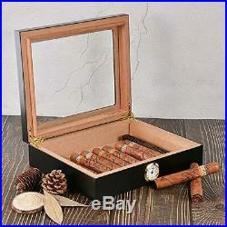 Cigar Humidor, Box with Hygrometer and Humidifier, Cedar Wood Black