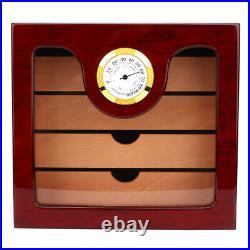 Cigar Humidor Cedar Wood Cigar Box Cedar Wood With Humidifier Large Capacity 4