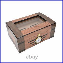 Cigar Humidor Classic Wood Grain DoubleLayer Cigars Storage Box WithHygrometer MP