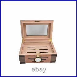 Cigar Humidor Classic Wood Grain DoubleLayer LargeCapacity Cigar Storage Box F