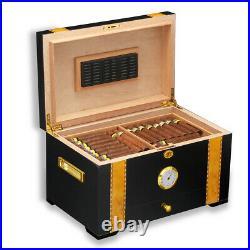Cigar Humidor Hold 100ct Cigars Sortage Box Case Holder With Humidifier Hygrometer