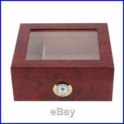 Cigar Humidor Storage Box Desktop Glasstop Cigar Box Humidifier Hygrometer NEW