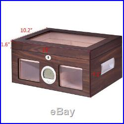 Cigar Humidor Storage Case Safe Display Box Desktop Cedar Glasstop Lockable Wood