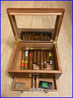 Cigar Humidor With Hygrometer Humidifier Drawer Cedar Wood Portable Humidor Box