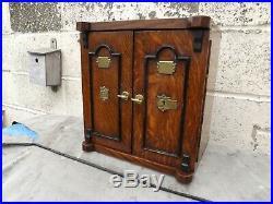 Circa 1900 Oak Cigar Humidor Smokers Cabinet Wooden Pipe Box Designed As A Safe