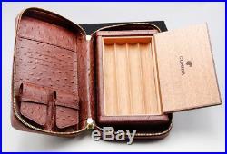 Cohiba Black Cedar Wood Travel 4 Tube Holder Cigar Case Humidor