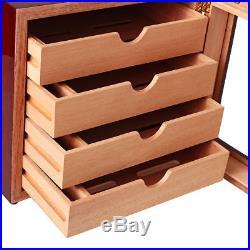 Cohiba Cherry Wood Cedar Cigar Humidor Case Box, 4 Drawers Cabinet Humidifier