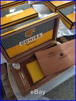 Cohiba Humidor Box Spanish Cedar Humidifier Hygrometer Gloss Holds 65 Brand New