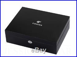 Cohiba Midnight Cigar Humidor, 70+ Black Cedar Cigar Box, Humidifier Hygrometer