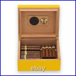 Cohiba Yellow Cedar Cigar Humidor Box Ashtray Cutter Humidifier Hold 75 Cigars