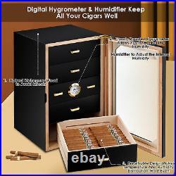 Costway 130 Cigar Humidor Desktop Cigar Box Glass Door 5 Drawers
