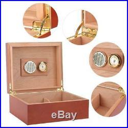 Desktop Cedar Wood Lined Cigar Humidor Storage Case Box Humidifier Hygrometer