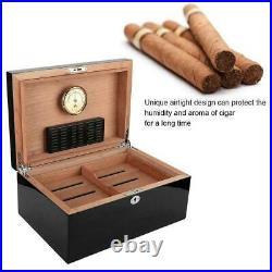 Durable Cedar Wood Black Travel Outdoor Cigar Humidor Cigar Case Storage Box NEW