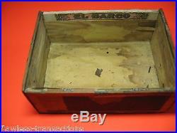 EL BARCO Vintage Antique Empty Hand Made Wooden Humidor Paper Trimmed Cigar Box