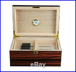 Elegant 100+ CT Count Cigar Humidor Humidifier Wooden Case Box Hygrometer eght