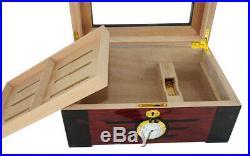 Elegant 100+ CT Count Cigar Humidor Humidifier Wooden Case Box Hygrometer w