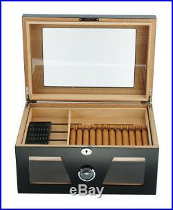 Elegant 120+ CT Count Cigar Humidor Humidifier Wooden Case Box Hygrometer fiv