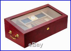 Elegant 150+ CT Count Cigar Humidor Humidifier Wooden Case Box Hygrometer 1sev