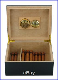 Elegant 25+ CT Count Cigar Humidor Humidifier Wooden Case Box Hygrometer twoon