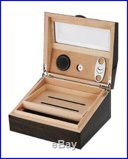 Elegant 50+ CT Count Cigar Humidor Humidifier Wooden Case Box Hygrometer cy15