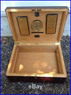 Elie Bleu Tabletier Cigar Humidor Hygrometer Box Case & Key