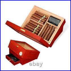Galiner Cedar Wood Glass Cigar Humidor Red Humidifier Hygrometer box 20-30ct