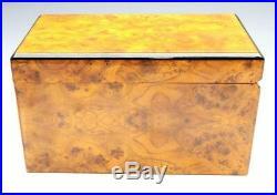 Gentili Italy Cedar Lined Burl Wood Veneer Small Cigar Humidor Storage Box 9x5x5